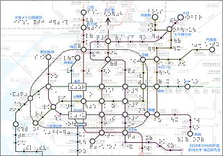 大阪メトロ路線図の触図