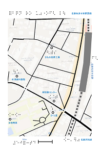 名鉄知多半田駅西口の触地図